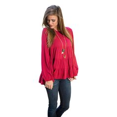 Plus Size Slouchy Loose Fit O-Neck Long Sleeve Casual Pleated Chiffon Blouse Shirts Tops For Womens New Hot Pink