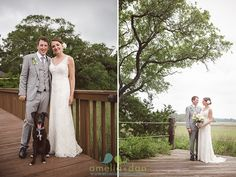 The couple's sweet doggie joins in the festivities at Mingo Point @kiawahresort Her dress by @martinaliana from Wedding Atelier Planning and Coordination by A Kiawah Wedding by AIC  Decor and Rentals by @oohevent