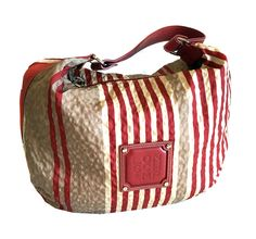 Longchamp Multi-color Striped Nylon With Leather Trim Shoulder Bag Hobo…