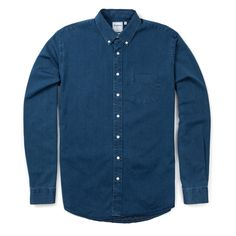 Schnayderman's Indigo Denim Shirt - Mid Blue - LATEST - Superdenim