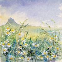 Scentless Mayweed Lindisfarne 2 Diy Embroidery Patterns, Machine Embroidery Projects, Learn Embroidery, Embroidery Art, Thread Painting, Fabric Painting, Fabric Art, Landscape Quilts, Landscape Art