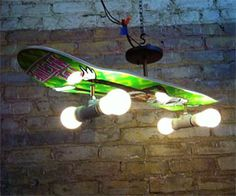 Bring a little urban decorum into your humble abode with the skateboard deck lamp. Featuring four light bulb wheels and a creatively decorated skate deck...