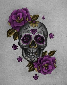 Sugar skull in purple <3