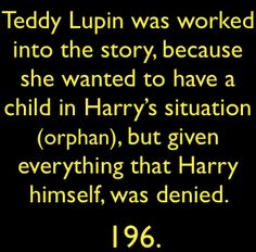 Teddy Lupin had the life Harry might have had if things had gone a bit differently.