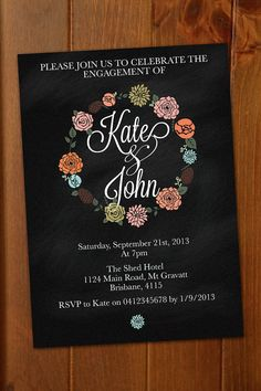 Wreath Engagement Invitation - can be customized for any event