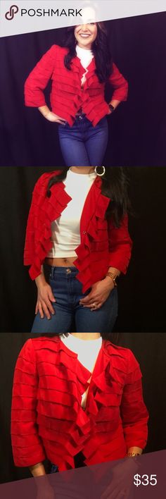Red Blazer Spice up your closet with this fiery red blazer! Perfect over your favorite LBD (Little Black Dress) or perhaps your favorite LBC (Little Black Cami)!! Condition: Good 100% Polyester *NO TRADES* The Limited Jackets & Coats Blazers