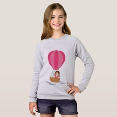 Cathy and the Cat in globe Sweatshirt - drawing sketch design graphic draw personalize