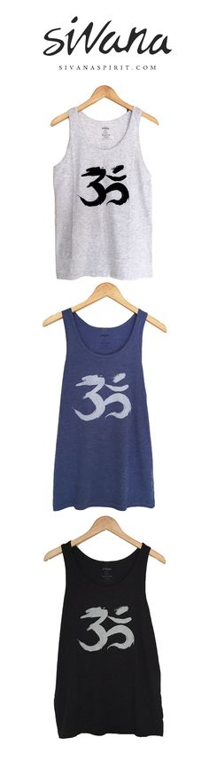 Incredibly soft Brush Stroke Om tank tops in three colors are perfect for summer! Heather/Blue/Eco black tank top, Yoga Fashion style summer.  #omclothing