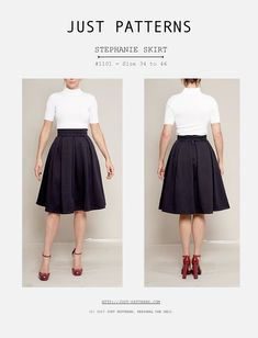 Your path to a designer handmade wardrobe starts now! Just Patterns - Stephanie Skirt pdf sewing pattern from size 34 to 56, now with fully illustrated step-by-step instructions.
