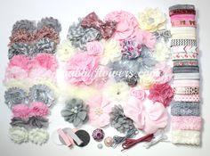 Pink and Gray Shabby Chic Baby Headband Kit, baby shower headband kit, diy headband kit