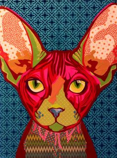 """Scrapbook paper collage art, collage art, """"Pink Sphynx"""" by Laura Yager, cat art, Sphynx cat artwork"""