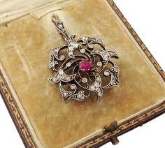 Edwardian Diamond Ruby Convertible Pendant Brooch in Original Box