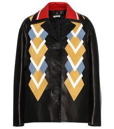 ¡Cómpralo ya!. Leather Jacket. Multicoloured Leather Jacket By Miu Miu , chaquetadecuero, polipiel, biker, ante, anteflecos, pielflecos, polipielflecos, antelina, chupa, decuero, leather, suede, suedette, fauxleather, tassel. Chaqueta de cuero  de mujer color multicolor de MIU MIU.