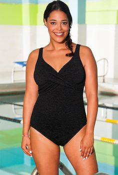 50de5fa8a7 Aquabelle Black Krinkle Cross Over Plus Size Swimsuit Swimsuits For All