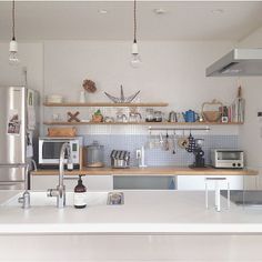 [RoomClip] シンプルな白基調のキッチン