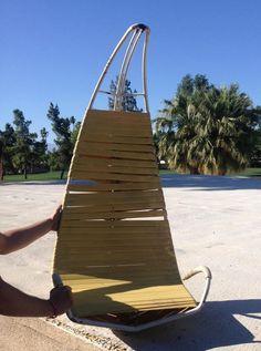 Vintage Mid Century Homecrest Indoor Outdoor Hanging Patio Chair Brown Jordan   eBay
