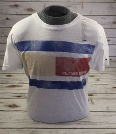 TOMMY HILFIGER DENIM T-Shirt Graphic Heathered Flag Tee Shirt White L NWT #TommyHilfiger #GraphicTee