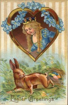 Easter Girl w Crown Royalty Rabbit Heart Flowers Gilt Embossed c1910 Postcard