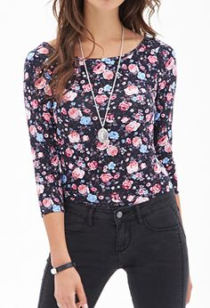Rose Print Knit Top | FOREVER 21 - 2000084957