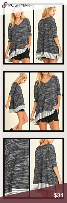 "Slouchy Marled Lightweight Sweater S M Super sassy & super relaxed/slouchy little marled lightweight sweater tunic in black & white.   Features: • Marled soft cotton blend fabric • Pullover V-neck Slouchy Style • 3/4 Sleeves  • Split hem with contrasting stripes  Small 2/4/6 Bust 48"" Length 27"" Medium 8/10/12 Bust 49"" Length 28"" Sweaters V-Necks"