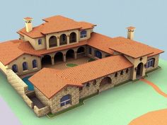 Spanish Style Homes with Interior Courtyards New Hacienda Style House Plans with. - Spanish Style Homes with Interior Courtyards New Hacienda Style House Plans with Courtyard Beautifu - Hacienda Style Homes, Mediterranean Style Homes, Spanish Style Homes, Spanish House, Mediterranean Architecture, Spanish Colonial, Mexican Style Homes, Spanish Revival, Victorian Houses