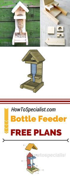 Learn how to build a bottle bird feeder with my free and step by step plans! This diy bird feeder is ideal if you want to attract singing birds to your yard! Free plans at howtospecialist.com #diy #birdfeeder
