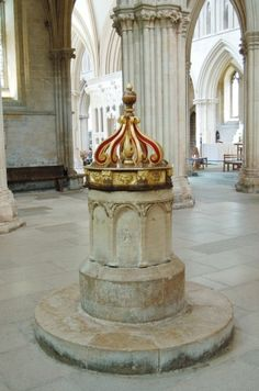 Anglo-Saxon baptismal font (c.700 AD) with plinth of c 1200 in south transept of Wells Cathedral
