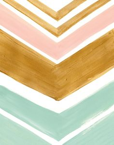mint, gold and peach chevron art print @Jacquelyne Priest these colors for nursery? But prettier shades of the colors