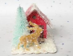 Vintage Putz Style Tiny Miniature Red Glitter Sugar House with a Vintage Reindeer Elk and an Aqua Tree Christmas Village Ornament