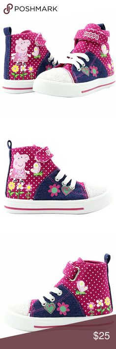 """Peppa Pig Girl's Glitter Hi-Top Sneakers ***NWOT***  Oh Peppa! Bring your daughter's favorite cartoon character to her wardrobe with these adorable Peppa Pig canvas & denim sneakers! """"SUPER CUTE"""" Its High top construction makes it unique from the rest. Lace up closure with metal eyelets. Velcro strap for adjustability and a snug fit. Lightly padded collar and tongue. Padded insole with durable outsole for grip. Decorative Peppa Pig designs around the whole shoe. Glittered toe cap for extra…"""