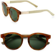 The Row Round Leather Acetate Sunglasses - Lyst