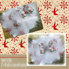 One ready to be shipped Christmas bow!!! Bows by Two Tiara's Bowtique on Etsy or Facebook as TwoTiaras Bowtique for more options and recent updates!  Check out this item in my Etsy shop https://www.etsy.com/listing/171991621/christmas-over-the-top-dear-santa-bow