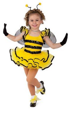 Yellow velvet leotard with attached yellow tricot sleeves and tiered skirt. Sequin and ribbon trim. Made in the USA / Imported. Headband, wings, and tricot shoe ties included XSC / SC / IC / MC / LC / XLC ACCESSORIES Short Nylon Gloves - Black Girls Dance Costumes, Cute Costumes, Ballet Costumes, Dance Outfits, Costumes For Women, Retro Costume, Tie Shoes, Halloween Disfraces, Halloween Kostüm