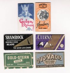 6 vintage SAFETY RAZOR BLADES / lamette da barba / lames de rasoir / LOT #B
