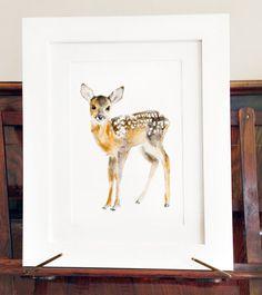Deer Print Of Watercolor Painting Giclee Animal by chocovenyl