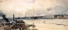 THOMAS GIRTIN ( 1775 - 1802 ). THE THAMES FROM WESTMINSTER TO SOMERSET HOUSE. watercolour. 240 × 539 mm. Provenance : presented by Chambers Hall. Trustees of the British Museum. Inv. No. 1855 - 2 - 14 - 27.