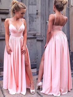 09d5ef3674 Chiffon Straps Floor-Length Pink Prom Dresses