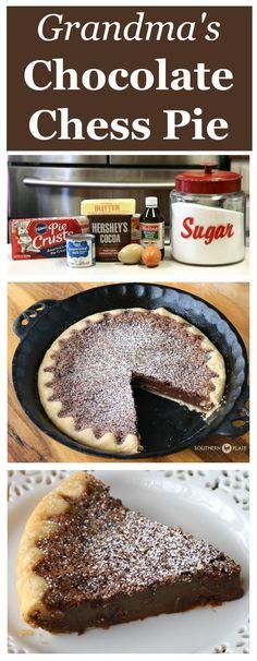 Grandmama's Chocolate Chess Pie is the pie of the south. #easy #recipes #pie #chocolatechess