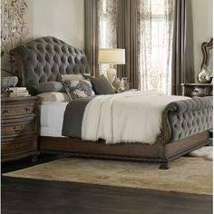 Hooker Furniture Rhapsody Upholstered Sleigh Bed Size: King, Color: Walnut/Gray