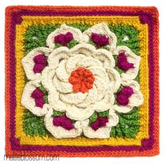 Lovely Crochet Afghan Squares for a Flower Afghan – 24 free patterns – Grandmother's Pattern Book