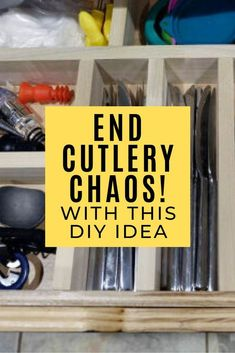 If you're wondering how to organize your kitchen drawer you'll like this easy and cheap DIY tip. No more wandering cooking utensils. This space saving storage idea is great if you have a small kitchen. Diy Drawer Organizer, Kitchen Drawer Organization, Kitchen Drawers, Diy Organization, Kitchen Storage, Organizing, Kitchen Cabinets, Chest Of Drawers Makeover, Diy Drawers