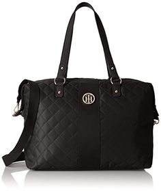 Tommy Hilfiger Womens Isla Quilted Nylon Weekend Bag Black    Check out the  image by visiting the link. 49dd3e8580c