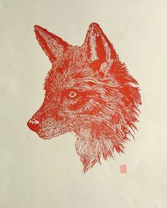 lino print by Red Boy Prints 2015 © Red, Prints