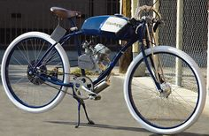 The 50cc homemade motorized bicycle spotlighted the other day looks pretty neat as a fun project but I found a company already producing something very similar. Derringer Cycles makes a Honda power...