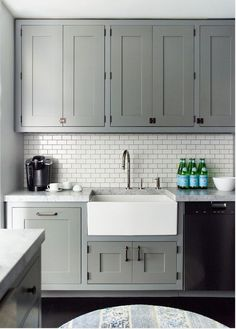 Grey Kitchen Cabinet Images look we love: gray kitchen cabinets with brass hardware — kitchen