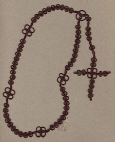 Boy's Man's Rosary In Standard Size - Diy Crafts Heart Tat, Diy Crafts Vintage, Advanced Embroidery, Diy Crafts Crochet, Tatting Tutorial, Crochet Bookmarks, Needle Tatting, Lace Necklace, Beading Needles