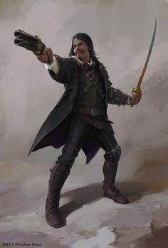 Male character (Gunmage II by ~maykrender on deviantART) Pathfinder Character, Pathfinder Rpg, Character Concept, Character Art, Concept Art, Fantasy Male, Fantasy Rpg, Dark Fantasy, Steampunk Characters