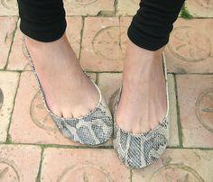 Green and Cream Snake Skin Leather Handmade Ballet by elehandmade, $112.00