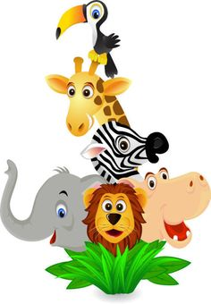 Illustration about A group of funny wild animal cartoon. Illustration of wildlife, wild, funny - 11389054 Jungle Animals Pictures, Cartoon Jungle Animals, Funny Wild Animals, Baby Zoo Animals, Safari Animals, Jungle Clipart, Alfabeto Animal, Animal Silhouette, Animal Coloring Pages