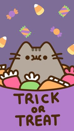 pusheen the cat iphone wallpaper background halloween fall autumn trick or treat candy corn Phone Background Wallpaper, Cover Wallpaper, Kawaii Wallpaper, Cute Wallpaper Backgrounds, Cute Wallpapers, Phone Backgrounds, Iphone Wallpapers, Halloween Wallpaper Iphone, Holiday Wallpaper